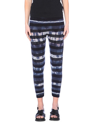 RAQUEL ALLEGRA Slouchy striped knitted leggings