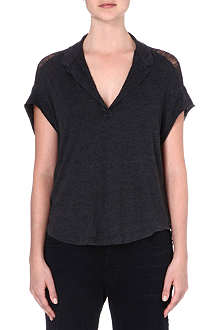 RAQUEL ALLEGRA Shredded-back polo t-shirt