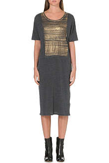 RAQUEL ALLEGRA Metallic cracked print jersey dress