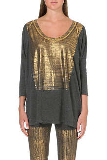 RAQUEL ALLEGRA Metallic cracked print top