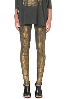 RAQUEL ALLEGRA Metallic cracked print leggings