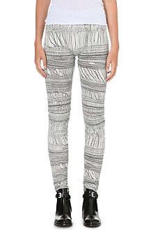 RAQUEL ALLEGRA Shredded fabric print leggings