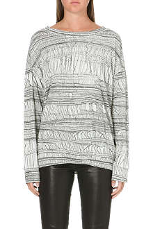 RAQUEL ALLEGRA Shredded fabric-print top