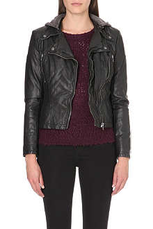 FREE PEOPLE Hooded faux-leather moto jacket