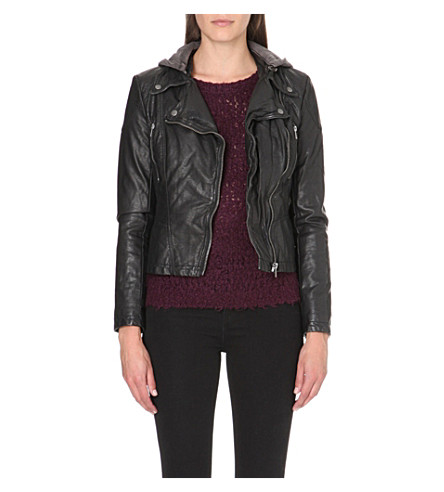 FREE PEOPLE Hooded faux-leather moto jacket (Black
