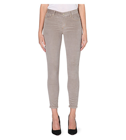 FREE PEOPLE Skinny mid-rise corduroy trousers (Warm grey