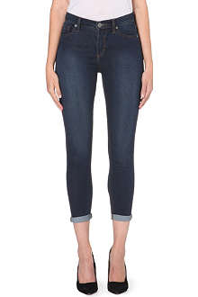 FREE PEOPLE Skinny mid-rise cropped jeans