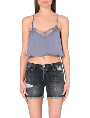 FREE PEOPLE Eclipse satin cropped top