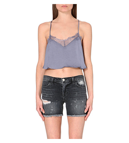FREE PEOPLE Eclipse satin cropped top (Moonlight