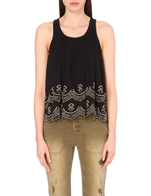 FREE PEOPLE Attina embroidered cotton vest top