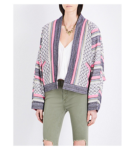 FREE PEOPLE Dolman cotton-blend jacket (Pink