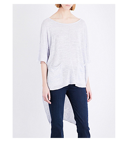 FREE PEOPLE Stepped-hem linen-blend top (Lavender