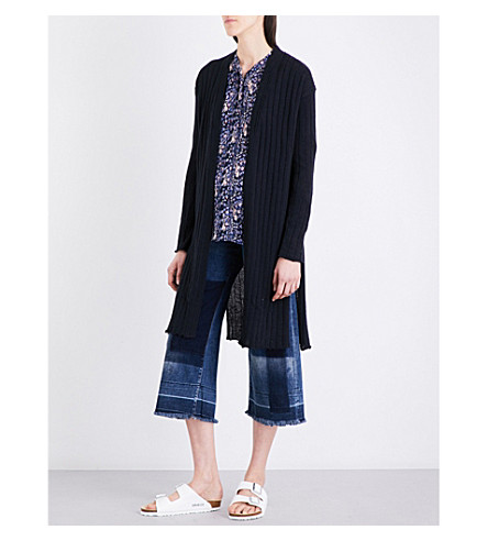 FREE PEOPLE Split-side cotton and linen-blend cardigan (Black