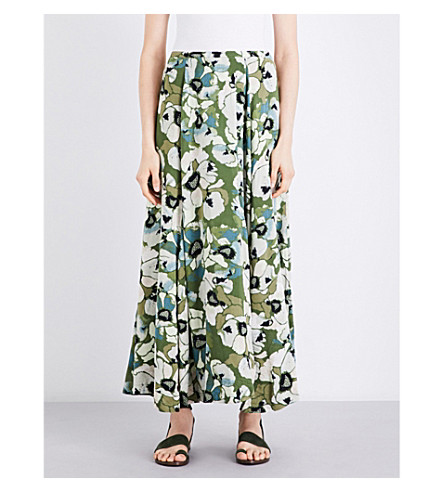FREE PEOPLE Hot Tropics woven maxi skirt (Moss