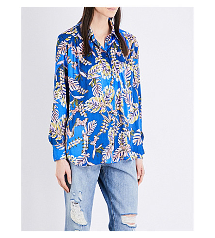FREE PEOPLE Under The Palms floral satin shirt (Blue