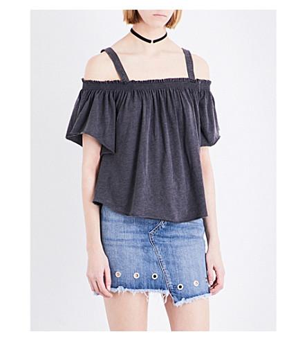 FREE PEOPLE Darling cold-shoulder cotton-blend top (Black