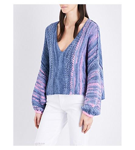FREE PEOPLE Amethyst dropped-shoulder cotton-blend jumper (Blue+combo