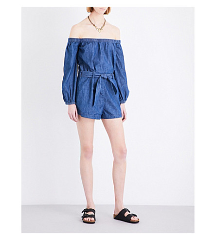 FREE PEOPLE Tangled in Willows off-the-shoulder denim plyasuit (Dark+denim
