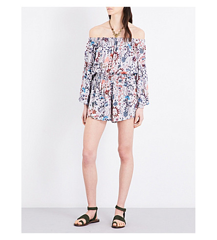 FREE PEOPLE Pretty and Free woven off-the-shoulder playsuit (Pink