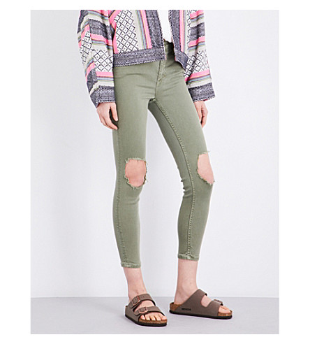 FREE PEOPLE Busted skinny high-rise jeans (Moss