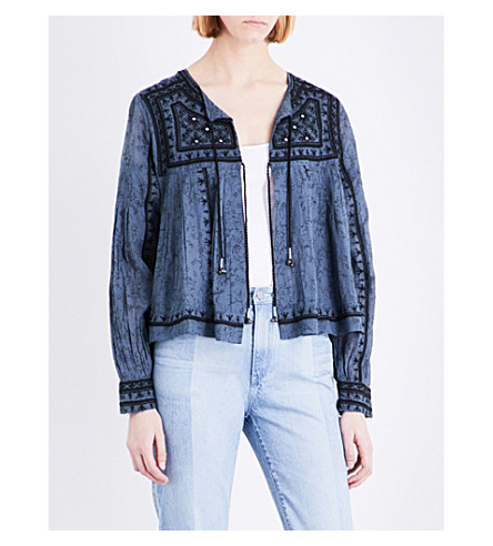 FREE PEOPLE Paisley-print cotton jacket (Blue