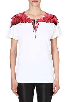 MARCELO BURLON Feather-print cotton t-shirt