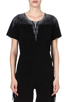 MARCELO BURLON Feather-print cotton t-shirt