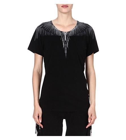 MARCELO BURLON Feather-print cotton t-shirt (Black