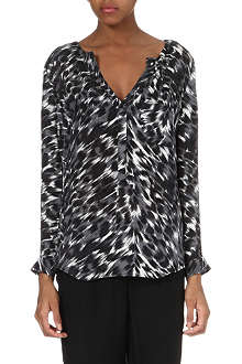 JOIE Dean animal-print silk blouse