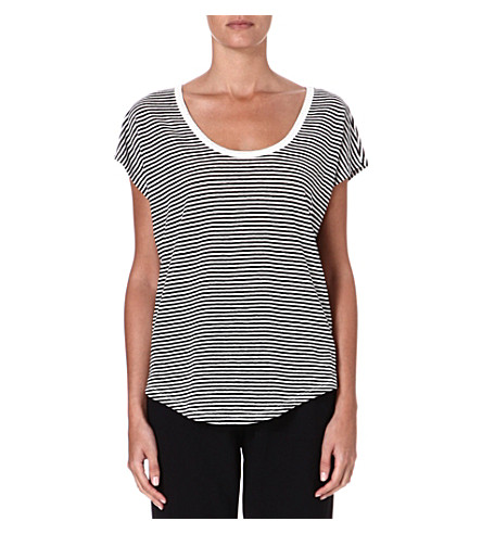 JOIE Darlen striped linen t-shirt (Caviar w/ porcelain