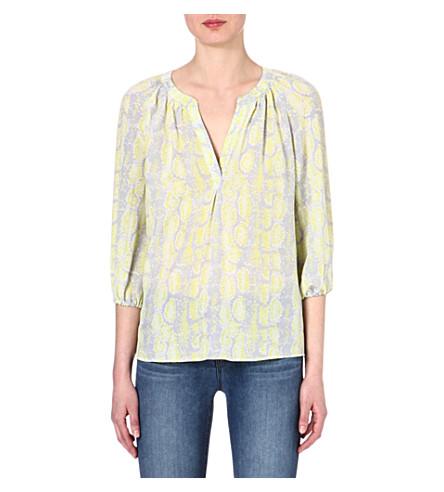 JOIE Addie python-print silk blouse (Citrine