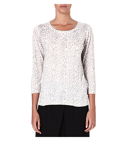 JOIE Riana animal-print knitted jumper (Charcoal