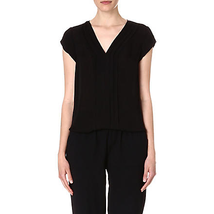 JOIE Marcher pleated silk top (Caviar