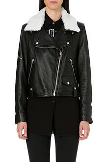 GOLDEN GOOSE Bear leather biker jacket