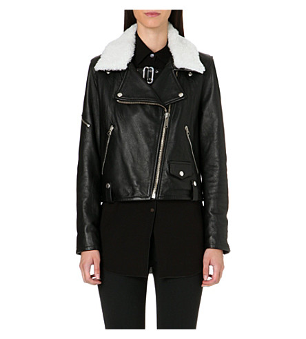 GOLDEN GOOSE Bear leather biker jacket (Black/shearling