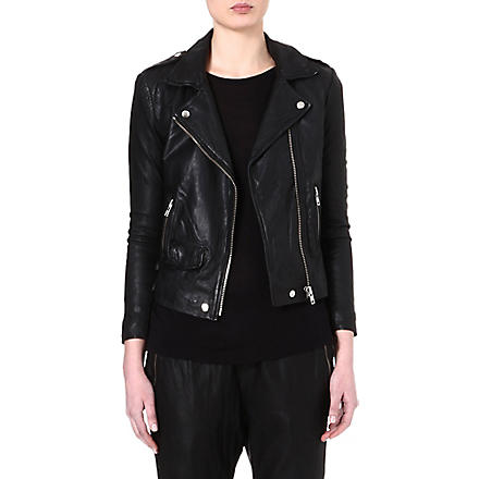 OAK Rider perforated-leather biker jacket (Black