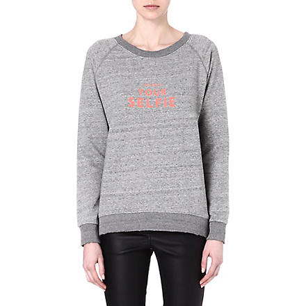 SELFRIDGES Respect your selfie sweatshirt (Grey/pink