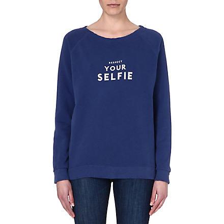 SELFRIDGES Respect your selfie sweatshirt (Blue/off white