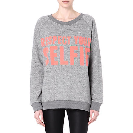 SELFRIDGES Respect your selfie sweatshirt (Grey/ pink