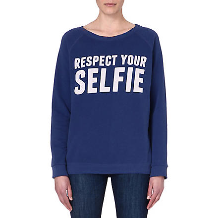 SELFRIDGES Respect your selfie sweatshirt (Blue/off white