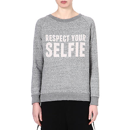 SELFRIDGES Respect your selfie sweatshirt (Grey/grey