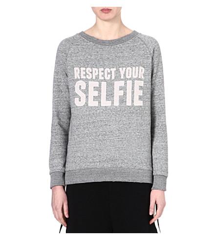 SELFRIDGES Respect your selfie sweatshirt (Grey/grey