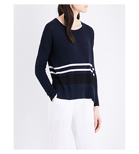 JAMES PERSE Oversized silk-blend jumper (French+navy+stripe