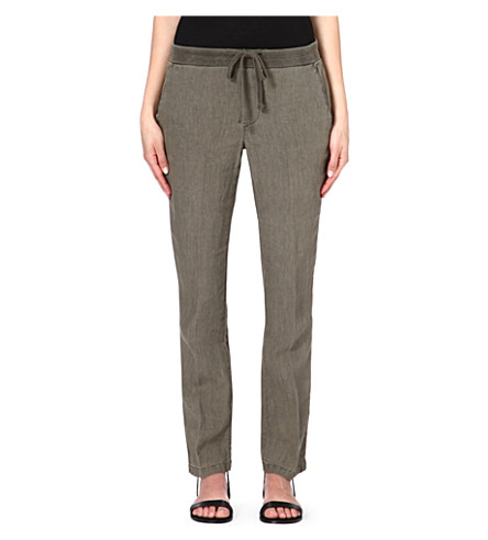 JAMES PERSE Tapered linen trousers (Safari