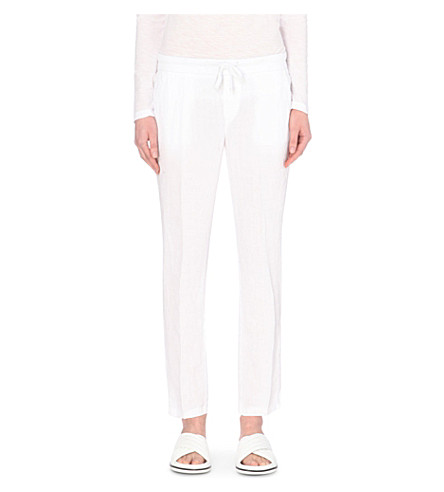 JAMES PERSE Tapered linen trousers (White