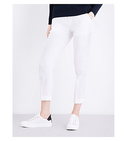 JAMES PERSE Straight cropped linen trousers (White