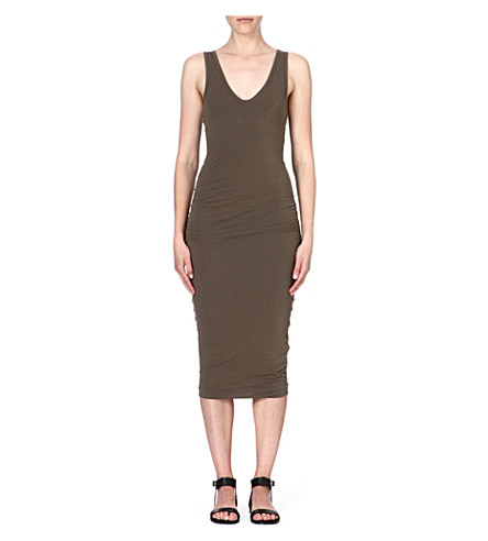 JAMES PERSE Ruched stretch-cotton dress (Safari