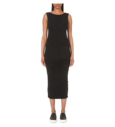 JAMES PERSE Ruched cotton-jersey midi dress (Black