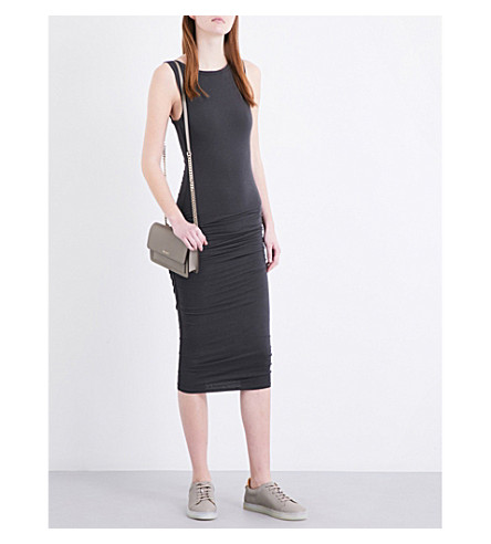 JAMES PERSE Ruched cotton-jersey midi dress (Carbon