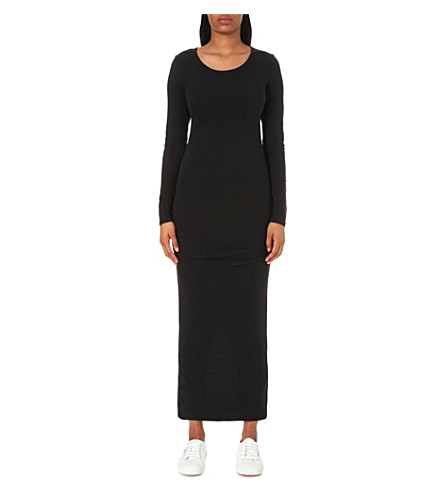 JAMES PERSE Ruched cotton-blend midi dress (True+black